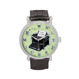 Máquina de escribir del tiempo de la escritura relojes