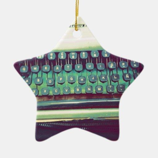 Máquina de escribir del vintage adorno navideño de cerámica en forma de estrella
