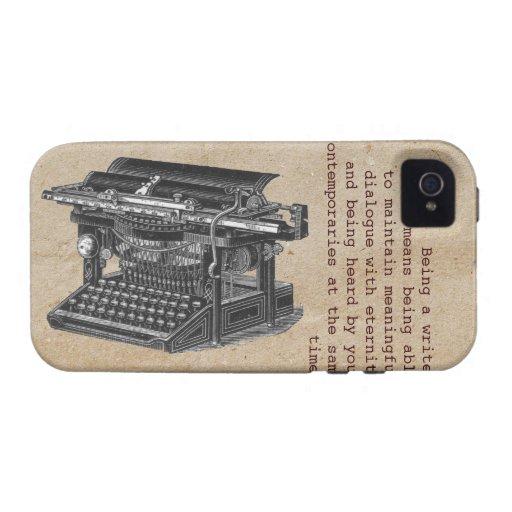Máquina de escribir del vintage con el texto funda Case-Mate para iPhone 4