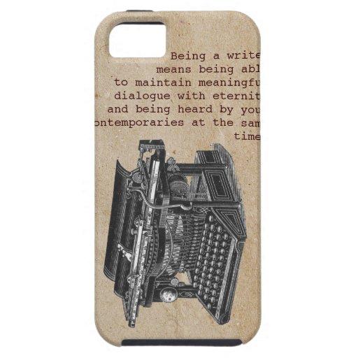 Máquina de escribir del vintage con el texto iPhone 5 funda