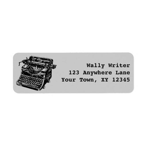 Máquina de escribir del vintage etiqueta de remite