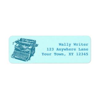 Máquina de escribir del vintage etiquetas de remite