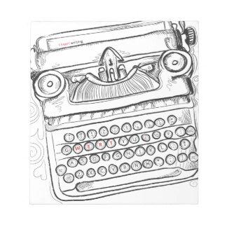 Máquina de escribir del vintage, mano dibujada, bloc de notas