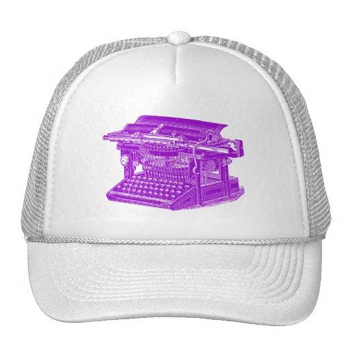 Máquina de escribir del vintage - púrpura gorros bordados