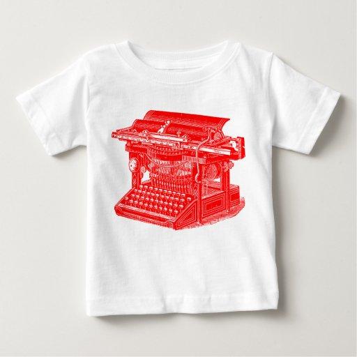 Máquina de escribir del vintage - rojo playeras