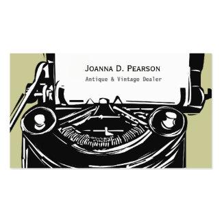 Máquina de escribir del vintage tarjeta de visita