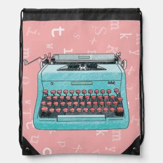 Máquina de escribir dibujada mano mochila