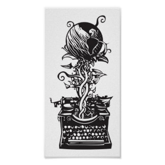Máquina de escribir ecológica del grabar en madera póster