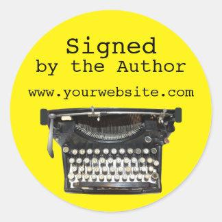 Máquina de escribir firmada por los pegatinas del pegatina redonda