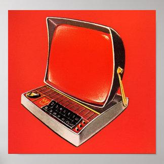 Máquina de escribir futurista del ordenador de la  póster