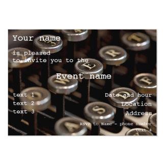 "Máquina de escribir invitación 5"" x 7"""