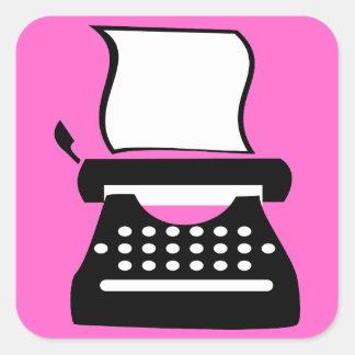 Máquina de escribir - manual que mecanografía la pegatina cuadrada