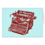 Máquina de escribir marrón del vintage felicitaciones