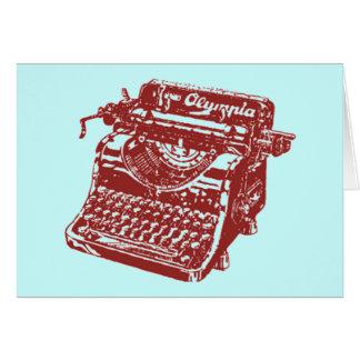 Máquina de escribir marrón del vintage tarjeta de felicitación
