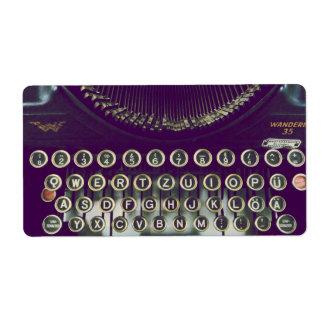 Máquina de escribir pasada de moda etiquetas de envío