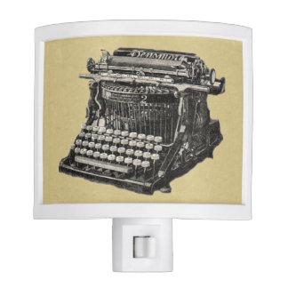 Máquina de escribir pasada de moda negra antigua d lámpara de noche