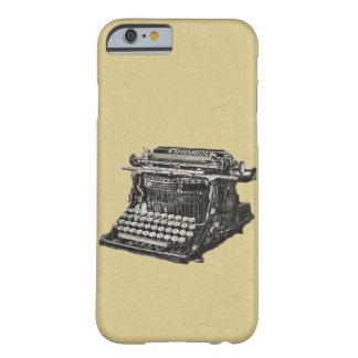 Máquina de escribir pasada de moda negra antigua funda de iPhone 6 barely there