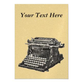 Máquina de escribir pasada de moda negra antigua invitaciones magnéticas