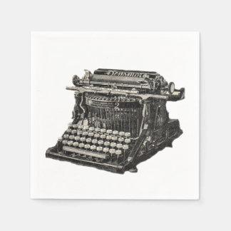 Máquina de escribir pasada de moda negra antigua servilletas de papel