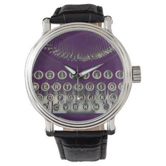 Máquina de escribir pasada de moda relojes de pulsera