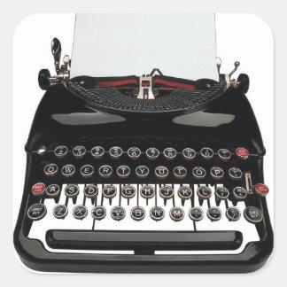Máquina de escribir pegatina cuadrada