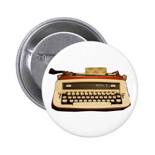 Máquina de escribir real roja pin redondo 5 cm