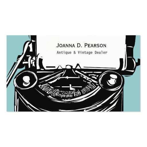 Máquina de escribir retra negra del vintage del tarjetas de visita