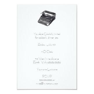 """Máquina de escribir retra silenciosa de lujo invitación 3.5"""" x 5"""""""