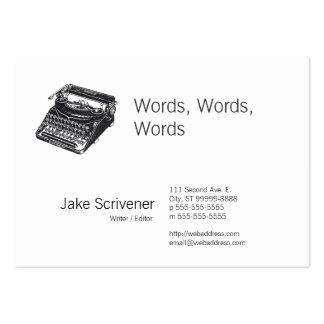 Máquina de escribir retra silenciosa de lujo tarjetas de visita grandes