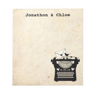 Máquina de escribir romántica del vintage blocs de papel
