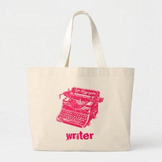 Máquina de escribir rosada del vintage bolsa tela grande