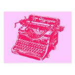 Máquina de escribir rosada del vintage postal