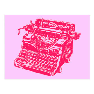 Máquina de escribir rosada del vintage tarjeta postal