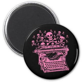 Máquina de escribir rosada malvada imán para frigorifico