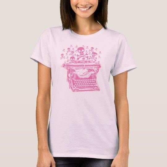 Máquina de escribir rosada malvada playera
