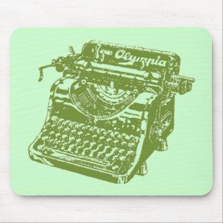 Máquina de escribir verde del vintage alfombrilla de ratones