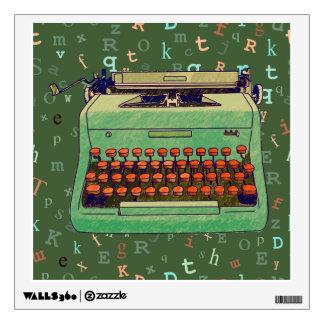Máquina de escribir verde en etiqueta verde vinilo