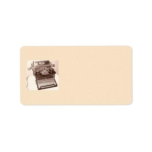 Máquina de escribir vieja etiquetas de dirección