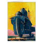 Máquina de guerra retra de Sci Fi 20s del kitsch d Tarjeta