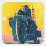 Máquina de guerra retra de Sci Fi 20s del kitsch Pegatina Cuadrada