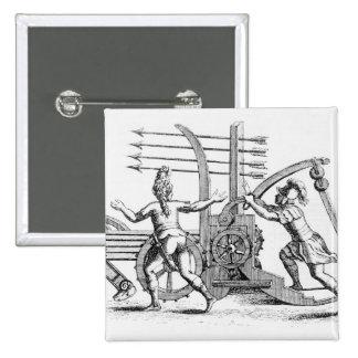 Máquina de guerra romana para las lanzas que encie pin cuadrado
