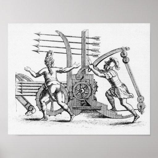 Máquina de guerra romana para las lanzas que encie póster