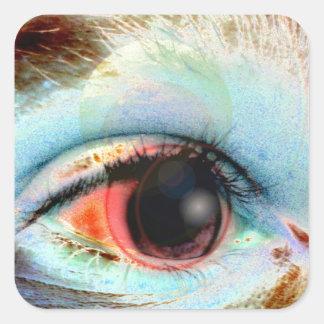 máquina de hilar eye2 pegatina cuadrada