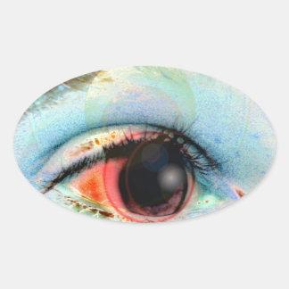 máquina de hilar eye2 pegatina ovalada