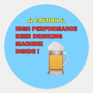Máquina de la cerveza pegatina redonda