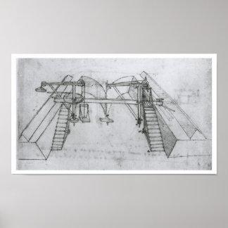 Máquina de la construcción del canal, Leonardo da  Póster