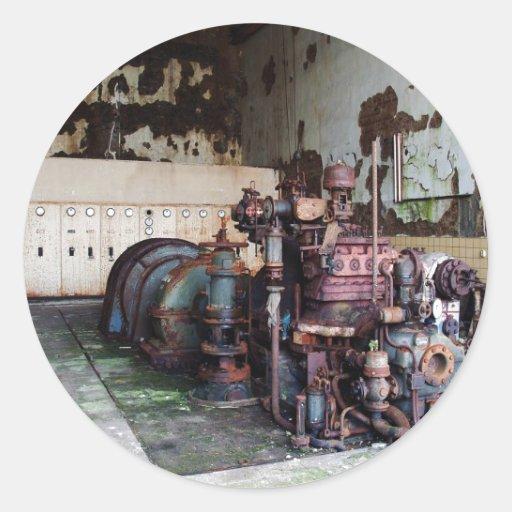 Máquina de la descomposición pegatina redonda