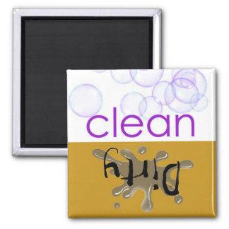 ¿Máquina de lavaplatos - es limpio o sucio? Imán Cuadrado
