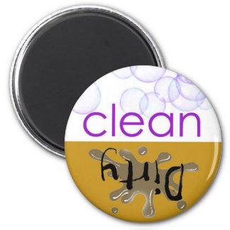 ¿Máquina de lavaplatos - es limpio o sucio? Imán Redondo 5 Cm