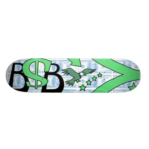 Máquina de papel/verde/azul claro tablas de skate